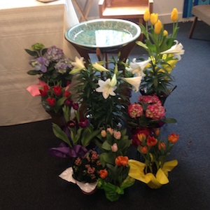 altar flowers at lourdes in litchfield